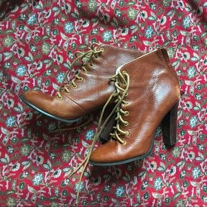Jeffrey Campbell Cognac Lace Up Leather Booties